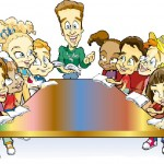 Kids meeting around table